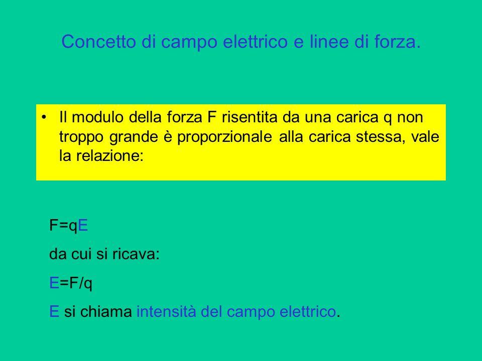 Concetto di campo elettrico e linee di forza.