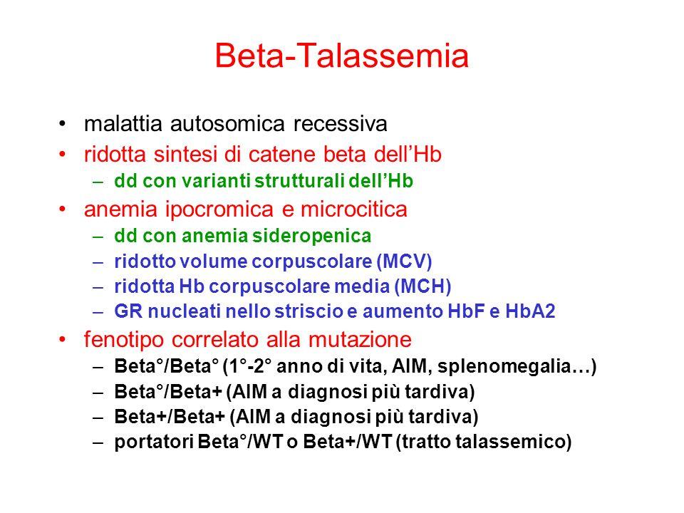 Beta-Talassemia malattia autosomica recessiva