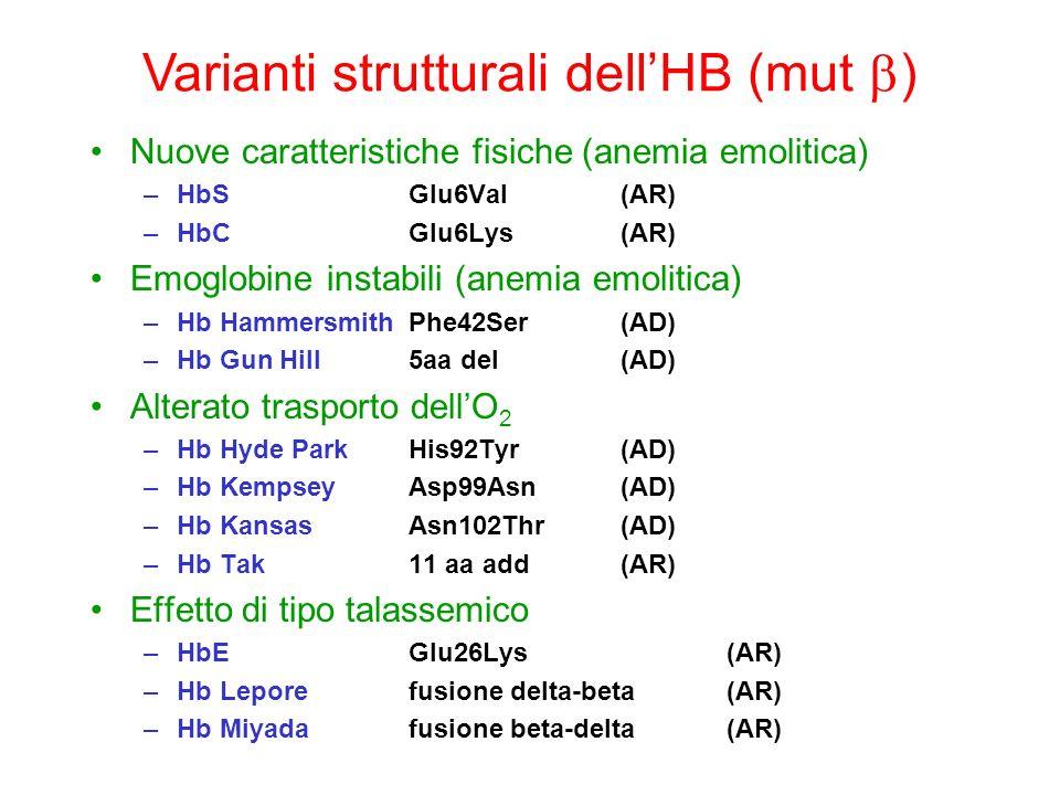 Varianti strutturali dell'HB (mut b)