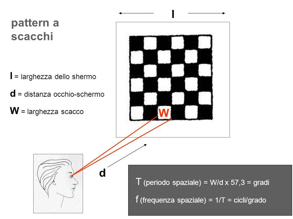 l pattern a scacchi W d l = larghezza dello shermo