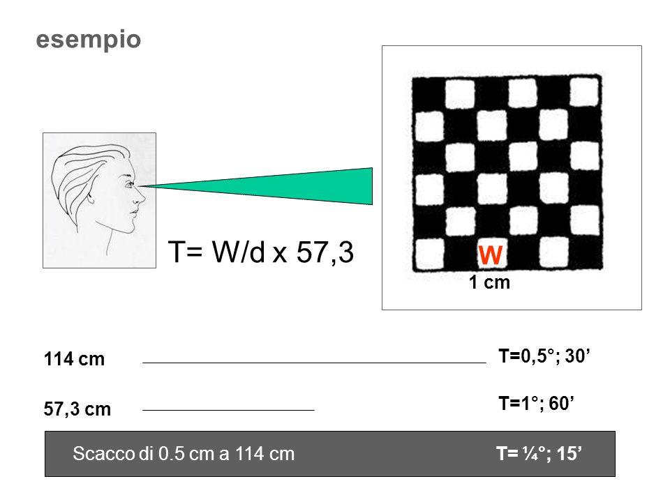 T= W/d x 57,3 esempio W 1 cm T=0,5°; 30' 114 cm T=1°; 60' 57,3 cm