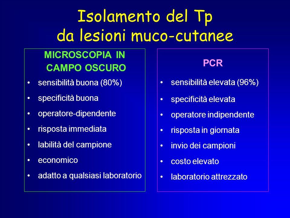 Isolamento del Tp da lesioni muco-cutanee
