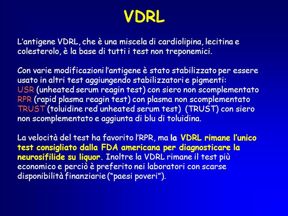 VDRL L'antigene VDRL, che è una miscela di cardiolipina, lecitina e colesterolo, è la base di tutti i test non treponemici.
