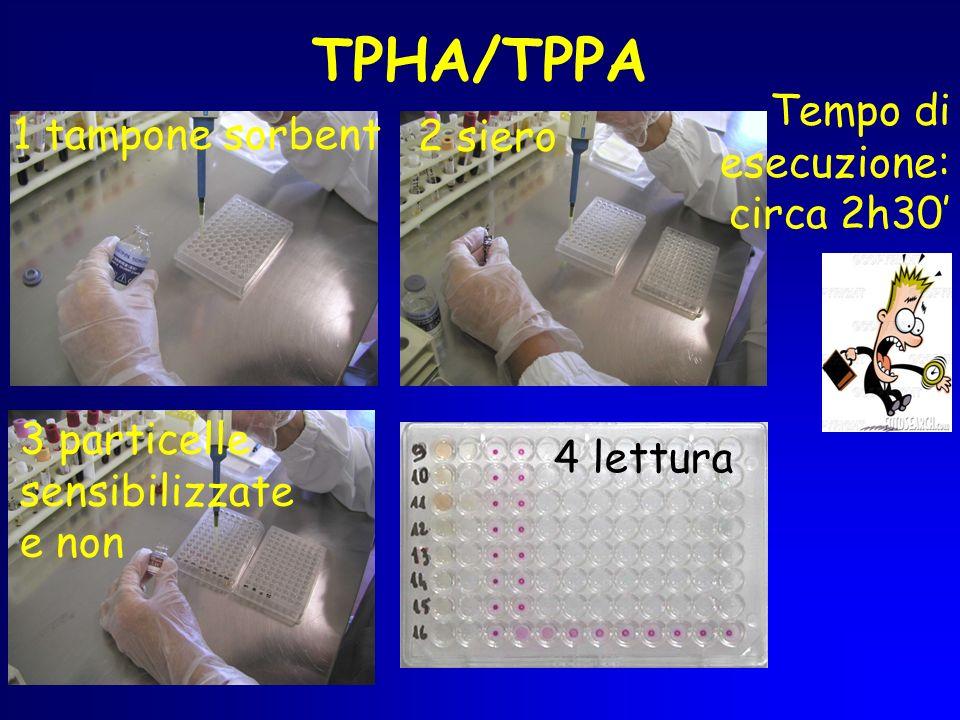TPHA/TPPA Tempo di esecuzione: circa 2h30' 2 siero 1 tampone sorbent