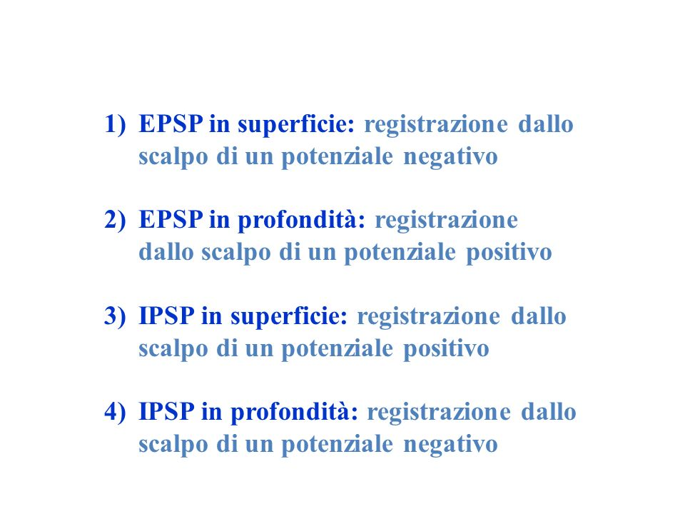 EPSP in superficie: registrazione dallo scalpo di un potenziale negativo