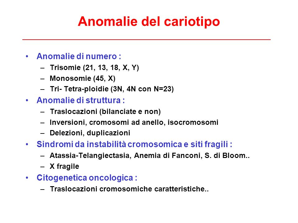 Anomalie del cariotipo