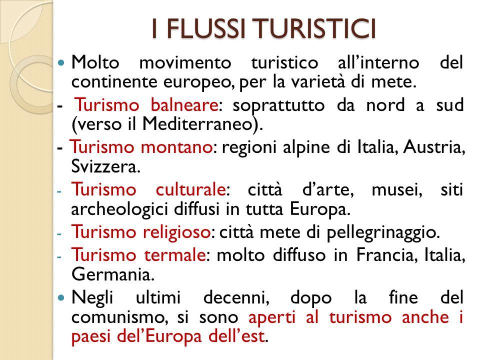 I FLUSSI TURISTICI Molto movimento turistico all'interno del continente europeo, per la varietà di mete.