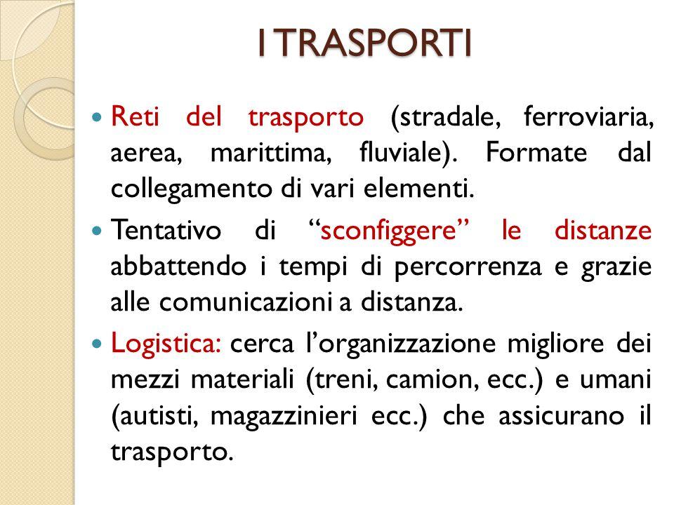 I TRASPORTI Reti del trasporto (stradale, ferroviaria, aerea, marittima, fluviale). Formate dal collegamento di vari elementi.