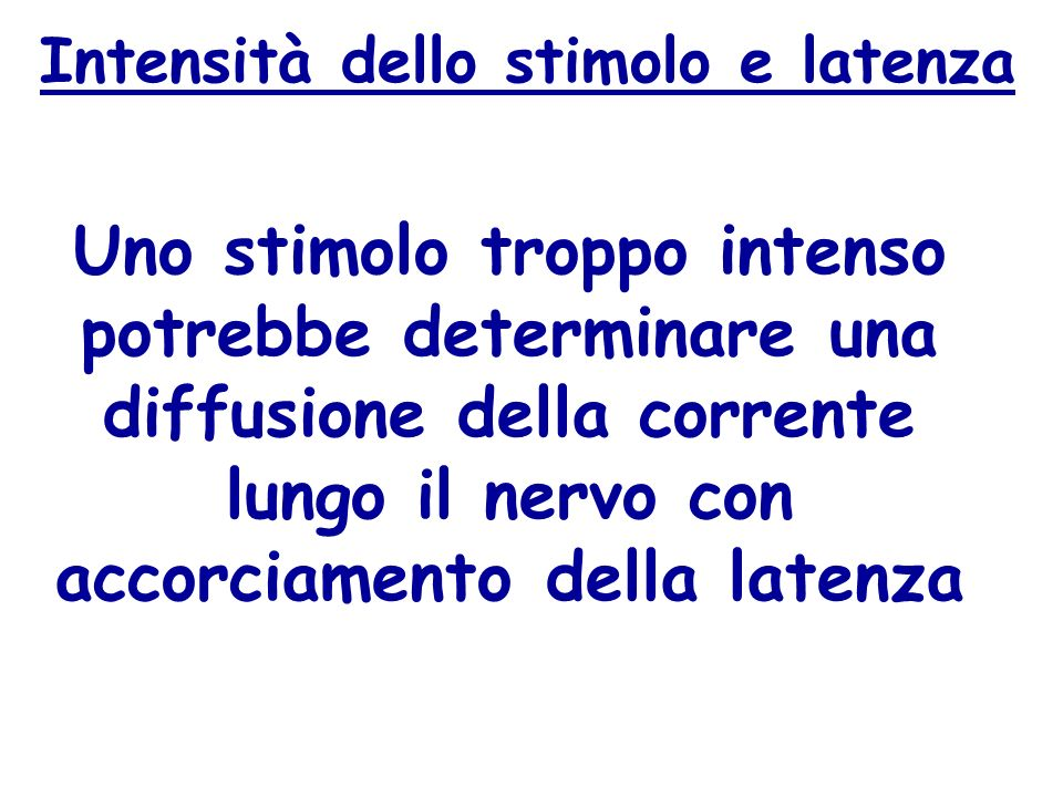 Intensità dello stimolo e latenza