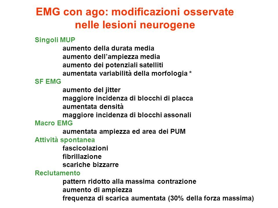 EMG con ago: modificazioni osservate nelle lesioni neurogene