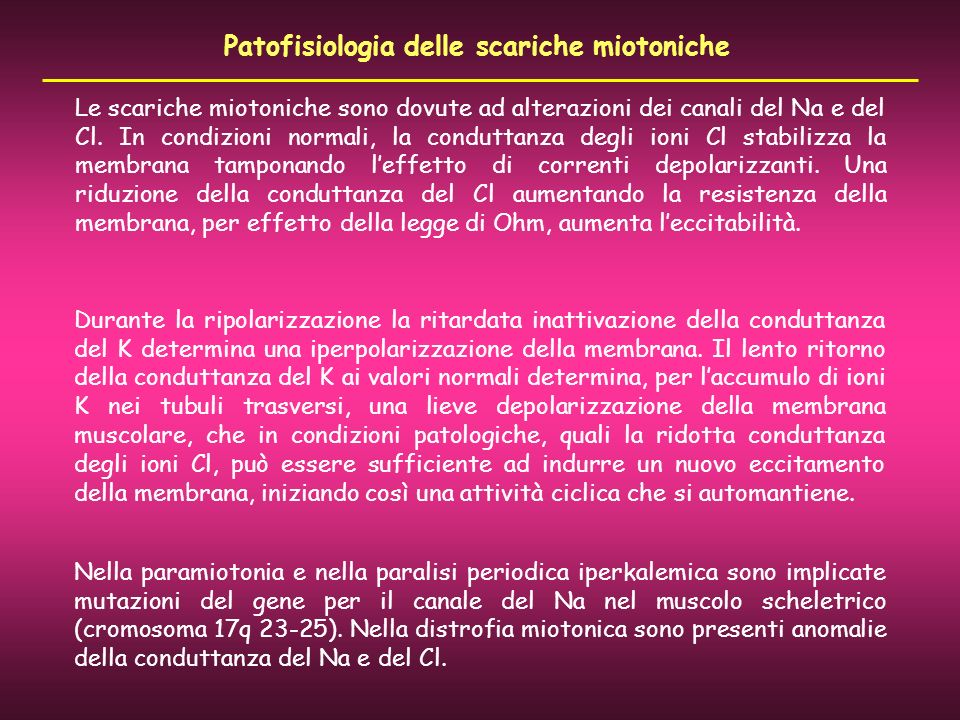 Patofisiologia delle scariche miotoniche