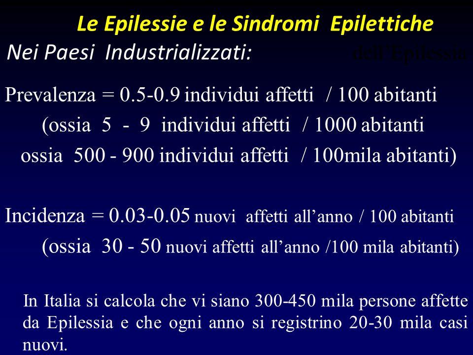 Prevalenza = 0.5-0.9 individui affetti / 100 abitanti