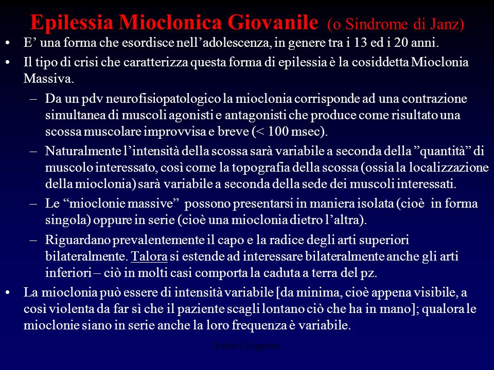 Epilessia Mioclonica Giovanile (o Sindrome di Janz)