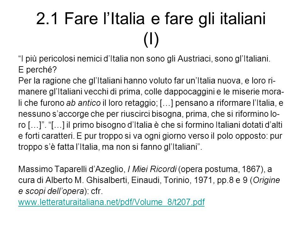 2.1 Fare l'Italia e fare gli italiani (I)