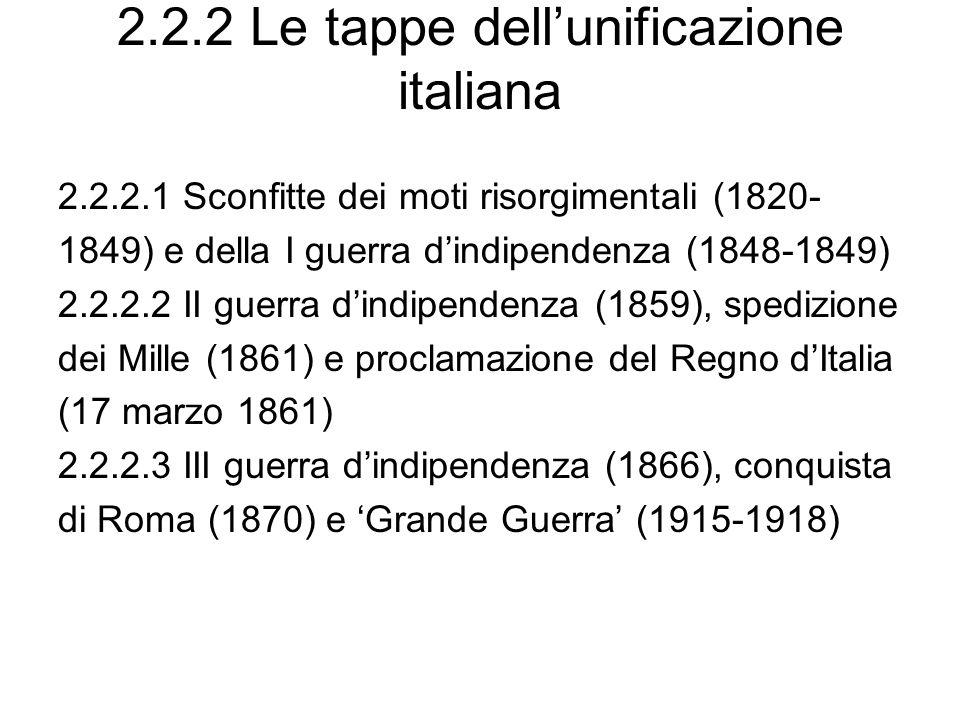 2.2.2 Le tappe dell'unificazione italiana
