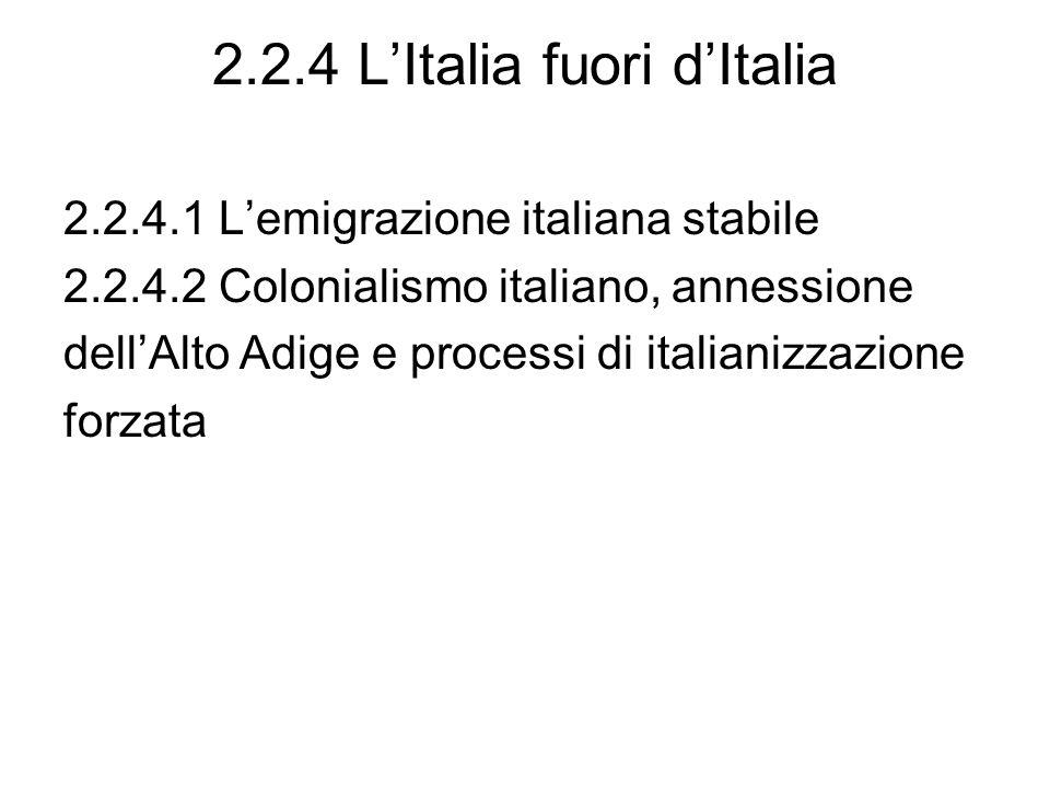2.2.4 L'Italia fuori d'Italia