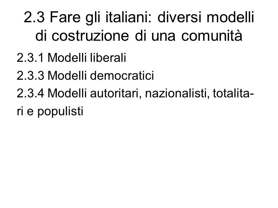 2.3 Fare gli italiani: diversi modelli di costruzione di una comunità