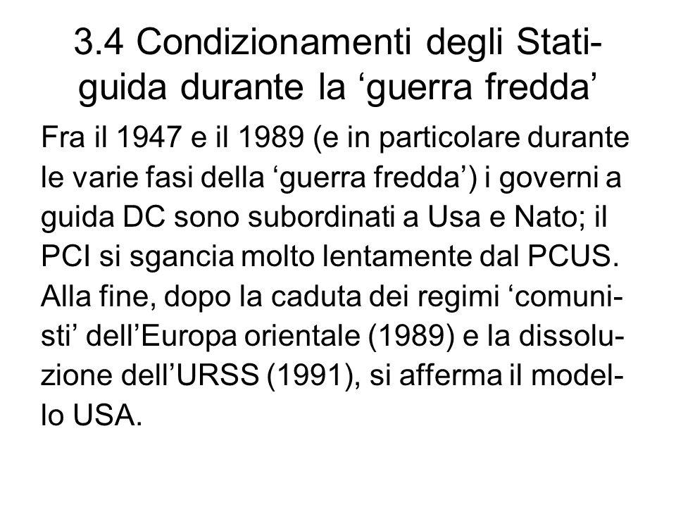 3.4 Condizionamenti degli Stati-guida durante la 'guerra fredda'