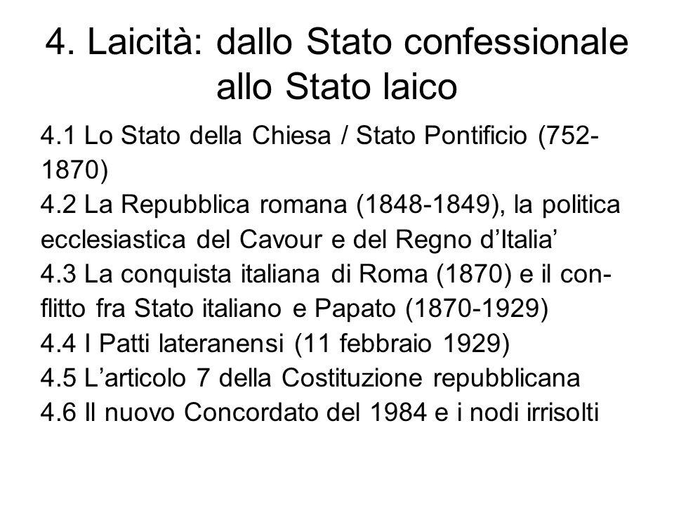 4. Laicità: dallo Stato confessionale allo Stato laico