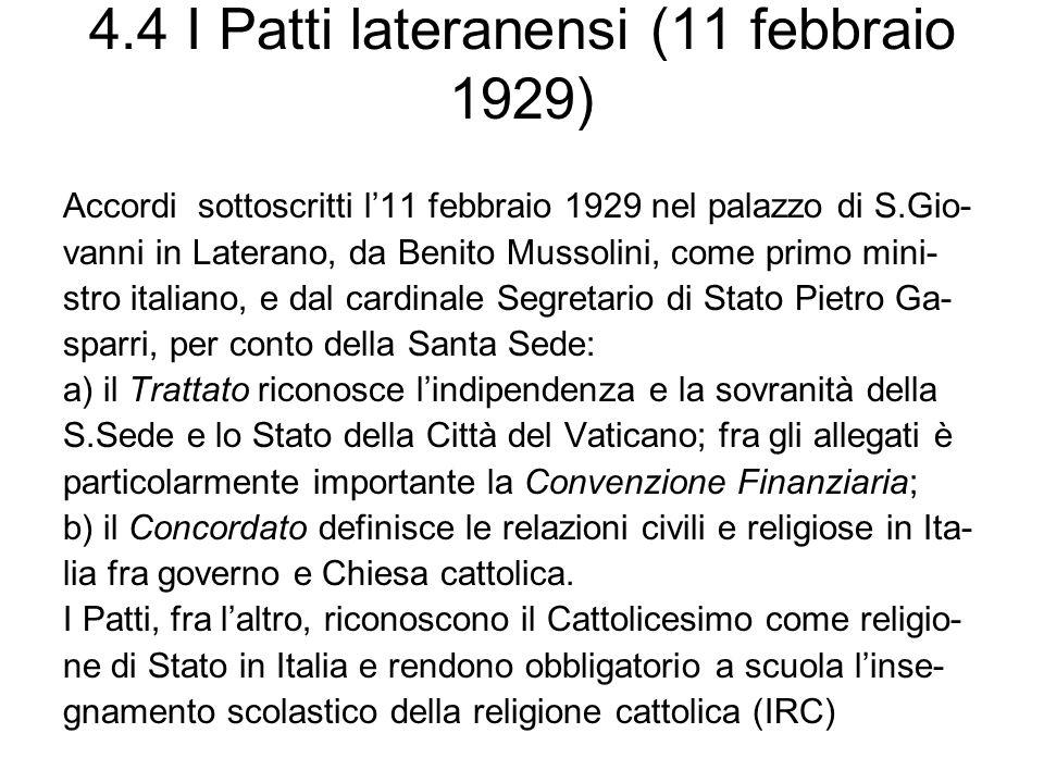 4.4 I Patti lateranensi (11 febbraio 1929)