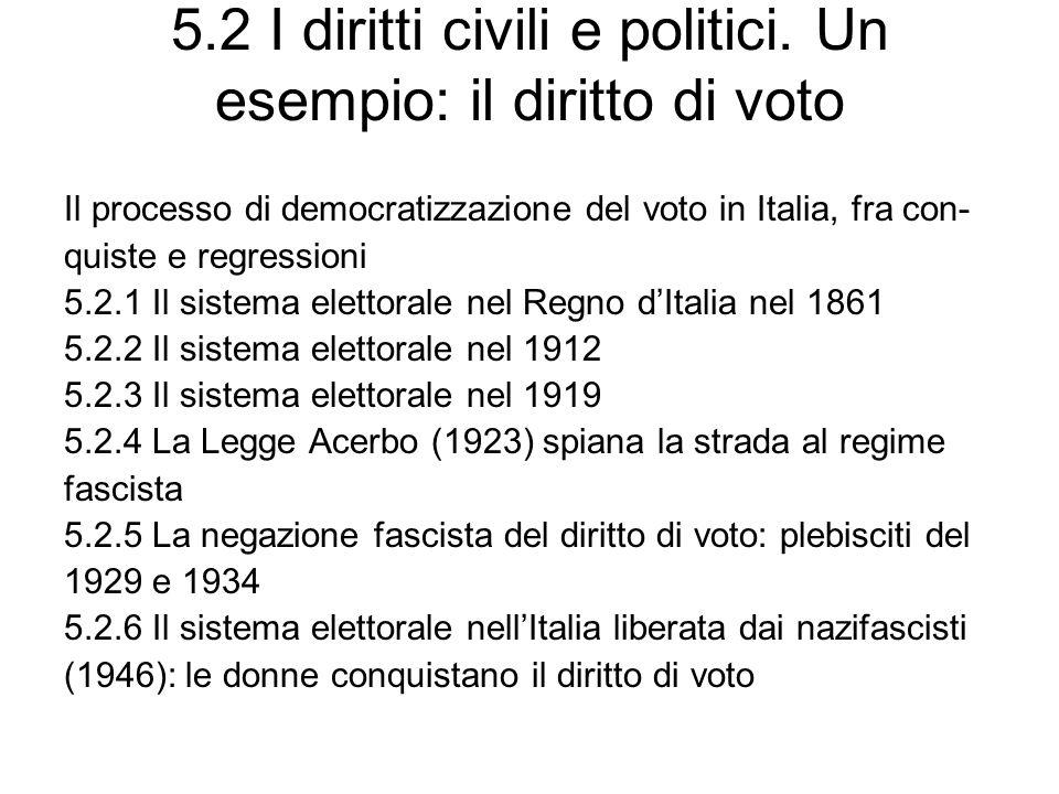 5.2 I diritti civili e politici. Un esempio: il diritto di voto