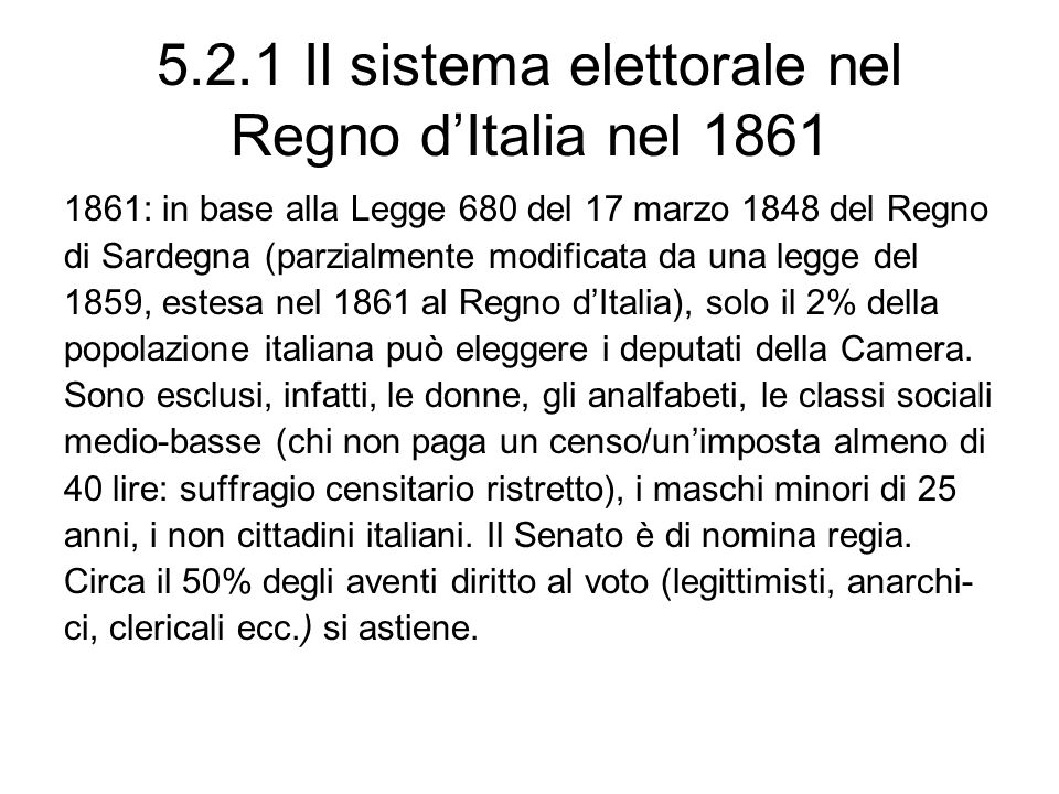 5.2.1 Il sistema elettorale nel Regno d'Italia nel 1861
