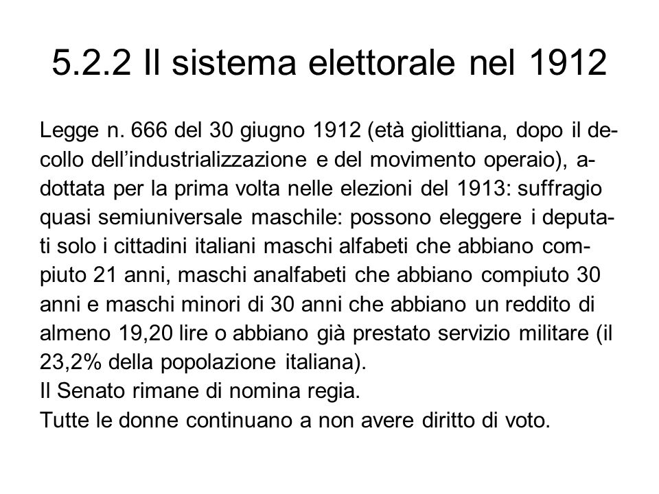 5.2.2 Il sistema elettorale nel 1912