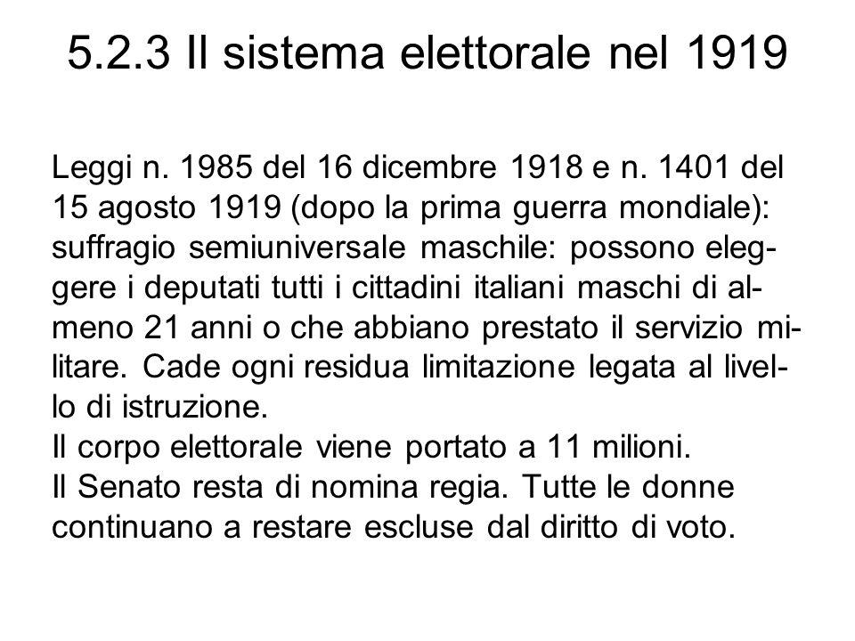 5.2.3 Il sistema elettorale nel 1919