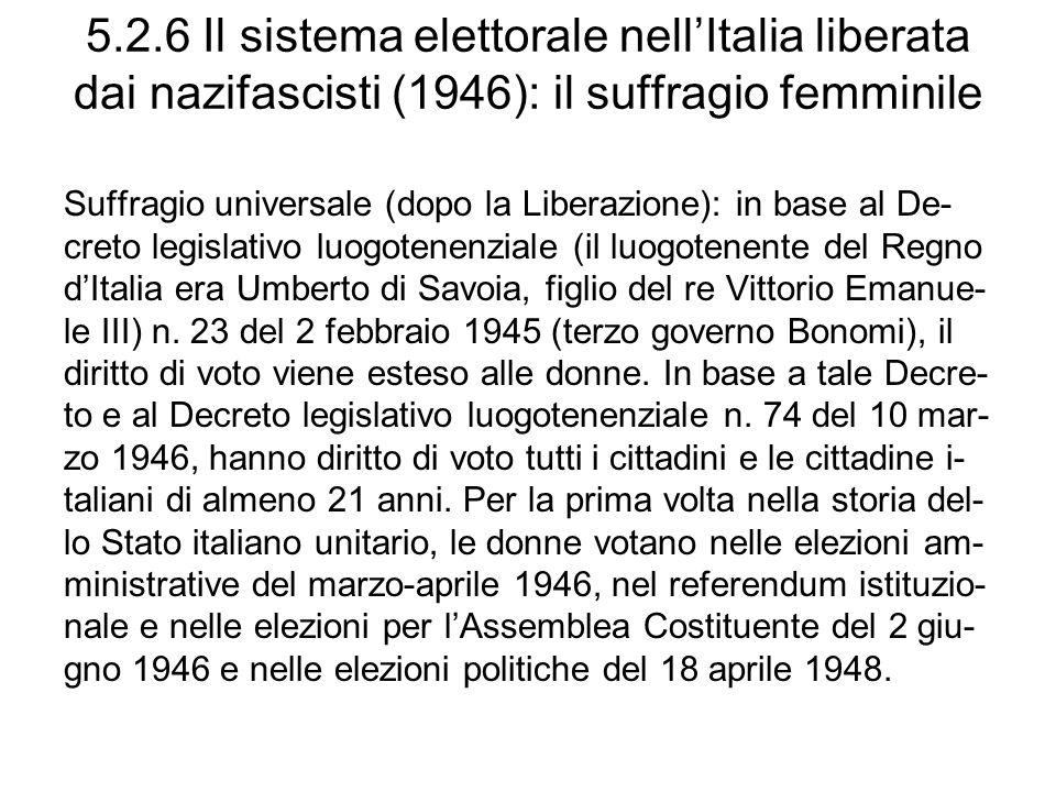 5.2.6 Il sistema elettorale nell'Italia liberata dai nazifascisti (1946): il suffragio femminile