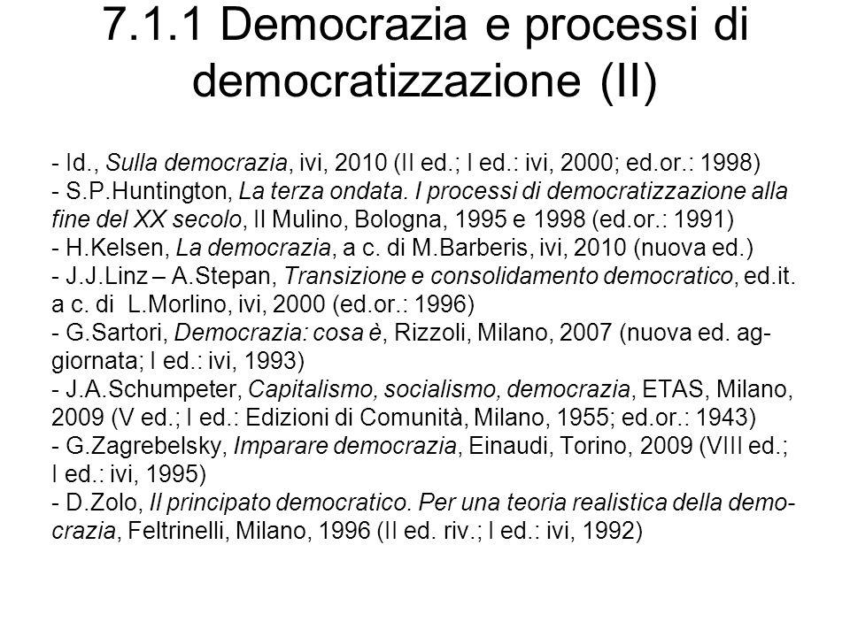 7.1.1 Democrazia e processi di democratizzazione (II)