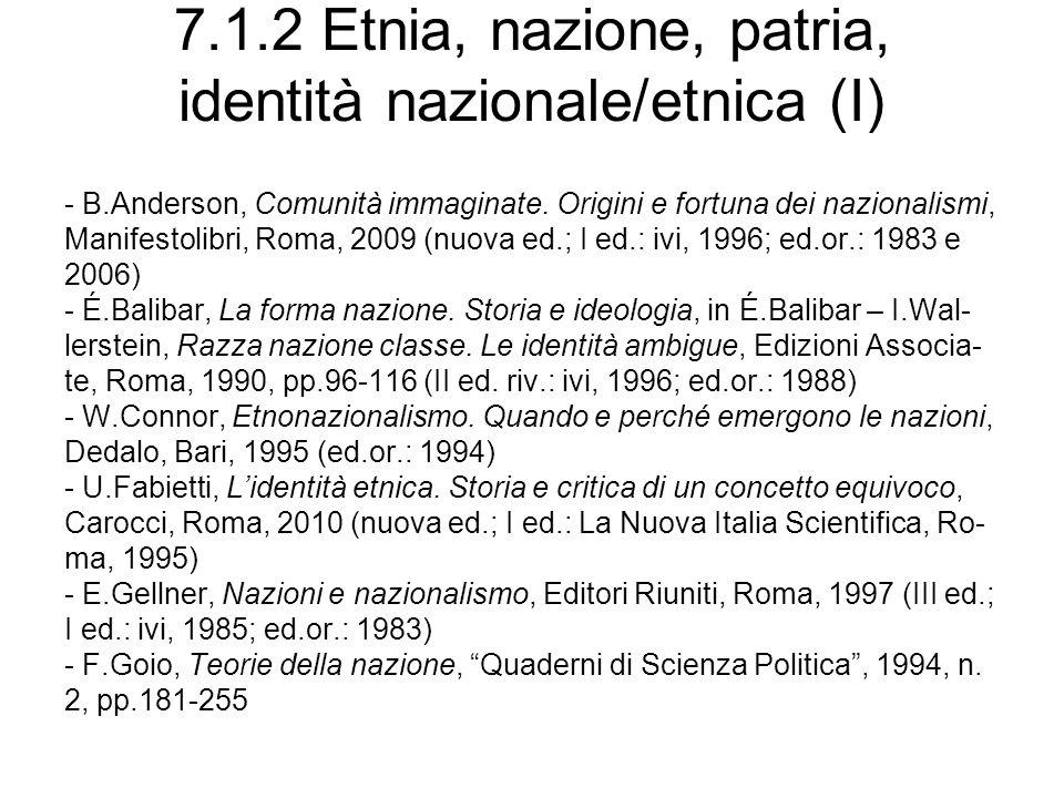 7.1.2 Etnia, nazione, patria, identità nazionale/etnica (I)