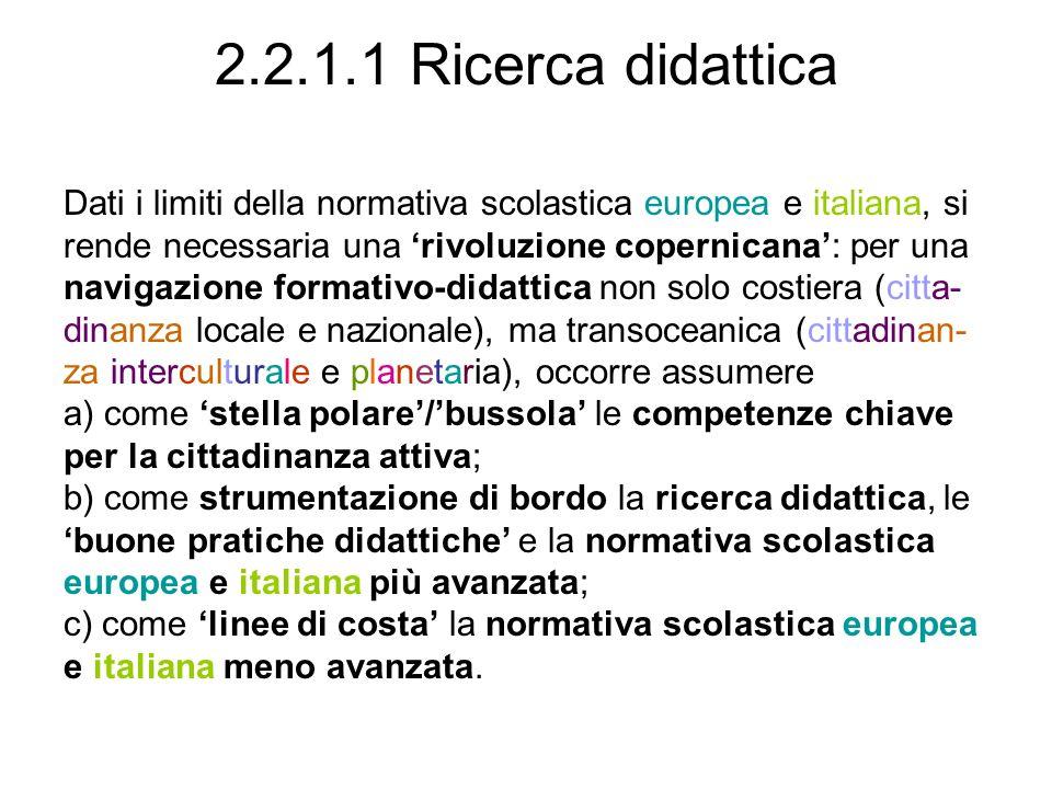 2.2.1.1 Ricerca didattica Dati i limiti della normativa scolastica europea e italiana, si. rende necessaria una 'rivoluzione copernicana': per una.