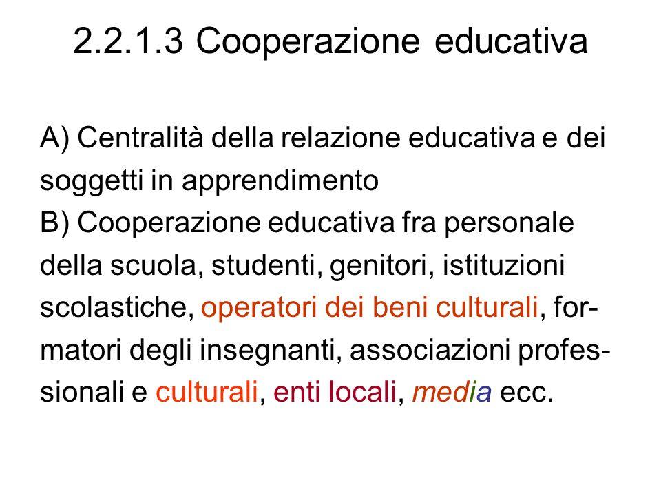 2.2.1.3 Cooperazione educativa