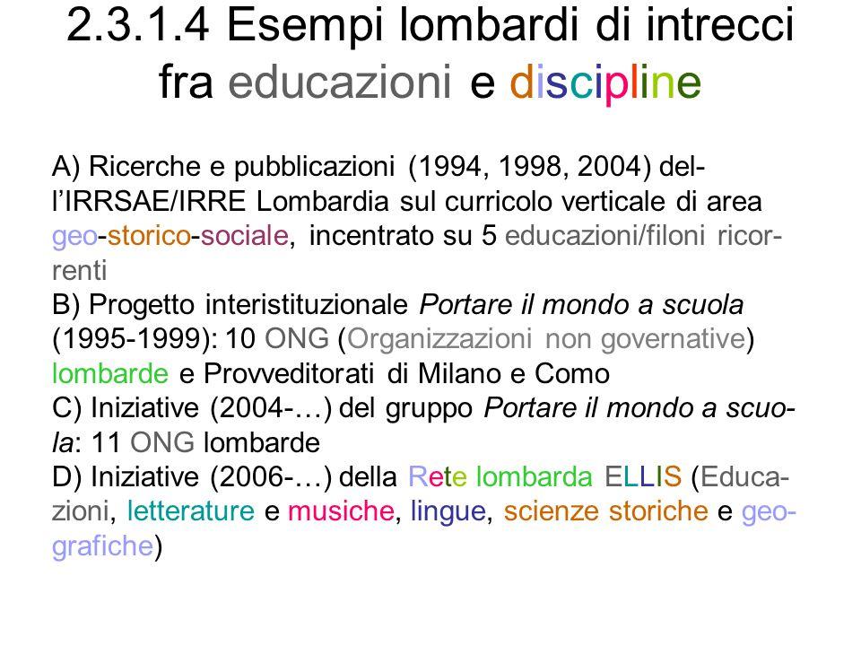 2.3.1.4 Esempi lombardi di intrecci fra educazioni e discipline