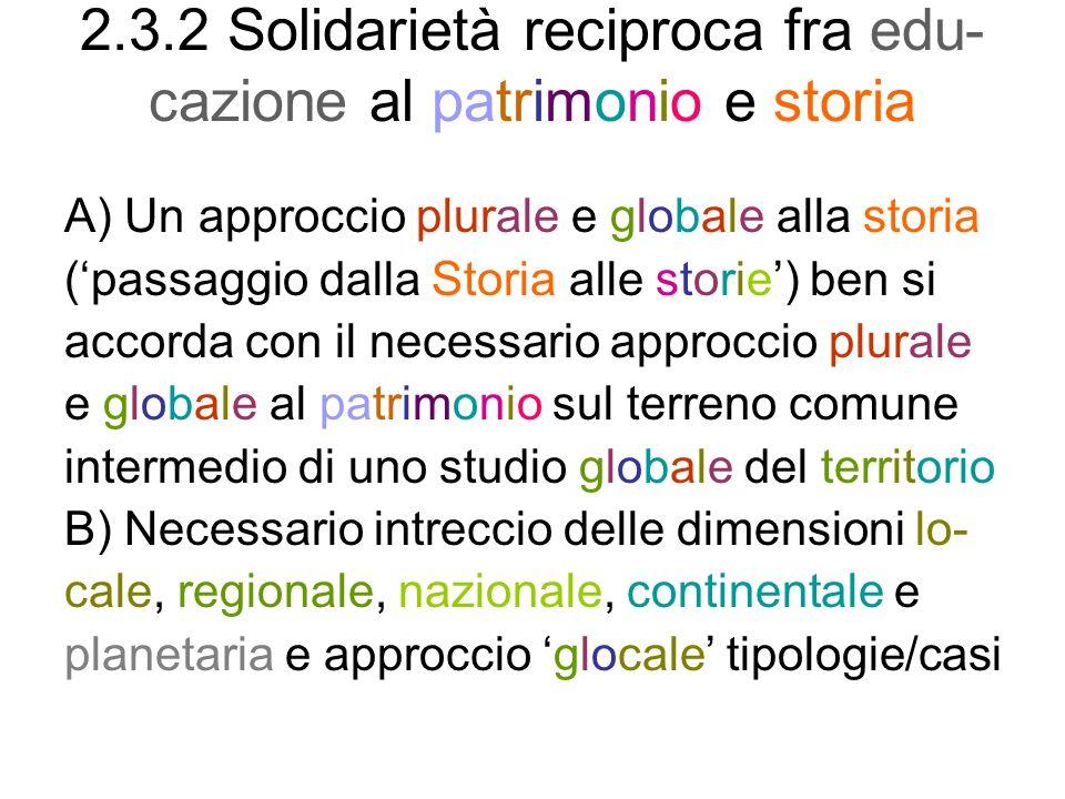 2.3.2 Solidarietà reciproca fra edu-cazione al patrimonio e storia