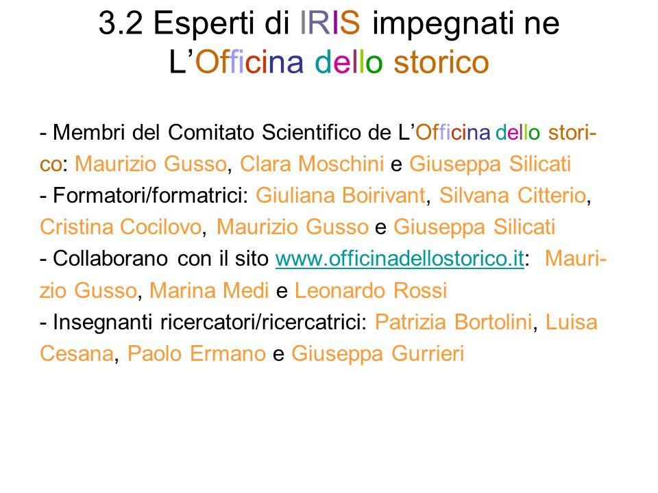 3.2 Esperti di IRIS impegnati ne L'Officina dello storico