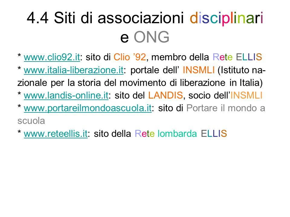 4.4 Siti di associazioni disciplinari e ONG