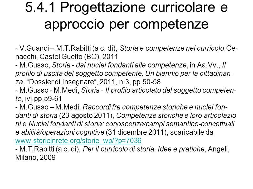 5.4.1 Progettazione curricolare e approccio per competenze