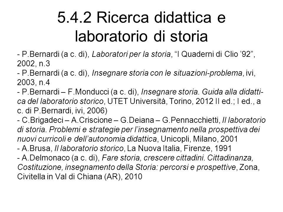 5.4.2 Ricerca didattica e laboratorio di storia