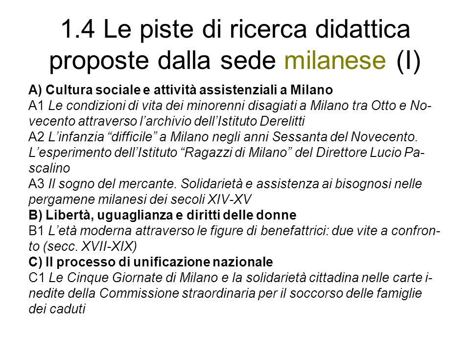 1.4 Le piste di ricerca didattica proposte dalla sede milanese (I)