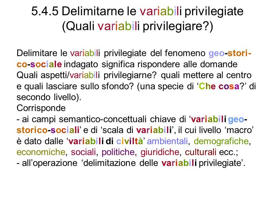 5.4.5 Delimitarne le variabili privilegiate (Quali variabili privilegiare )