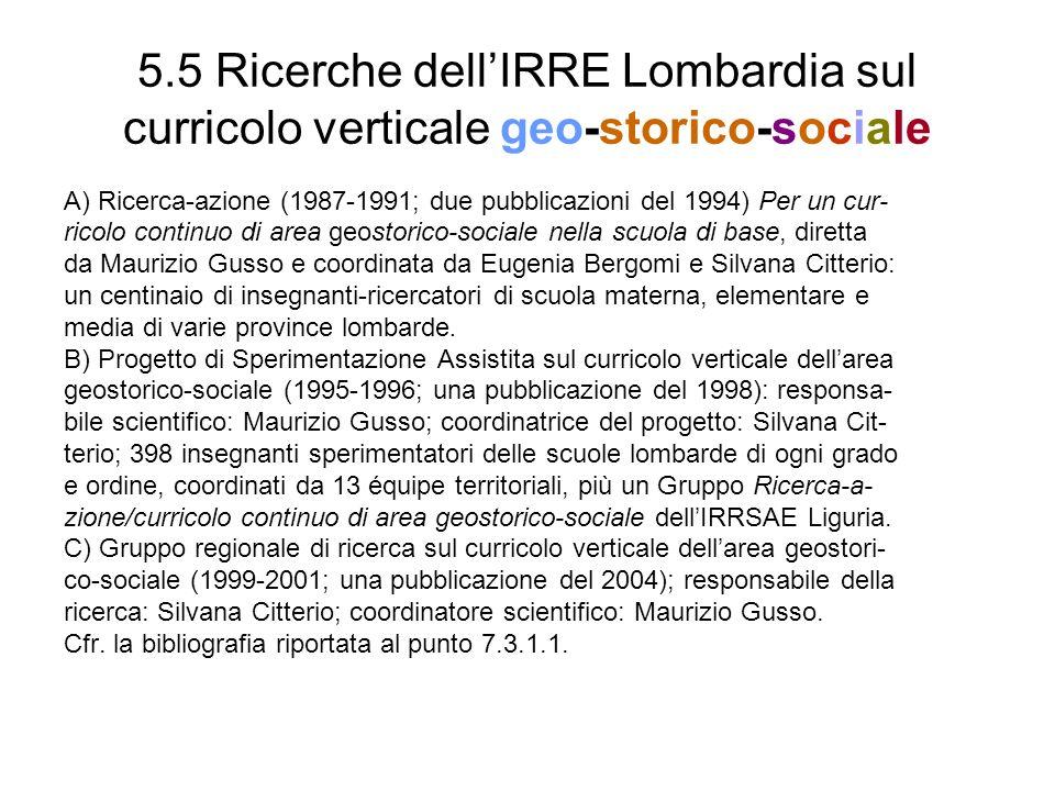 5.5 Ricerche dell'IRRE Lombardia sul curricolo verticale geo-storico-sociale