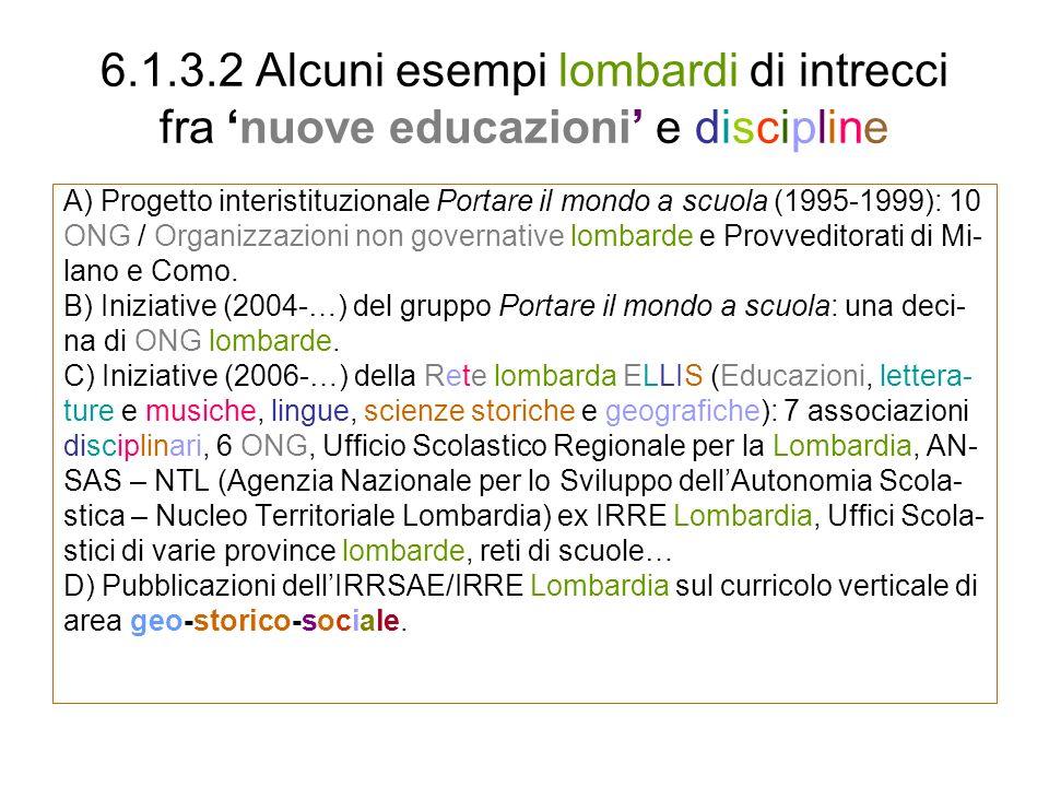 6.1.3.2 Alcuni esempi lombardi di intrecci fra 'nuove educazioni' e discipline