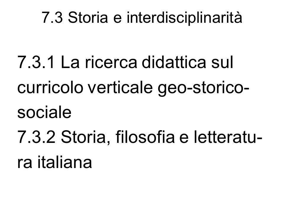 7.3 Storia e interdisciplinarità