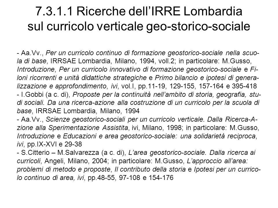 7.3.1.1 Ricerche dell'IRRE Lombardia sul curricolo verticale geo-storico-sociale