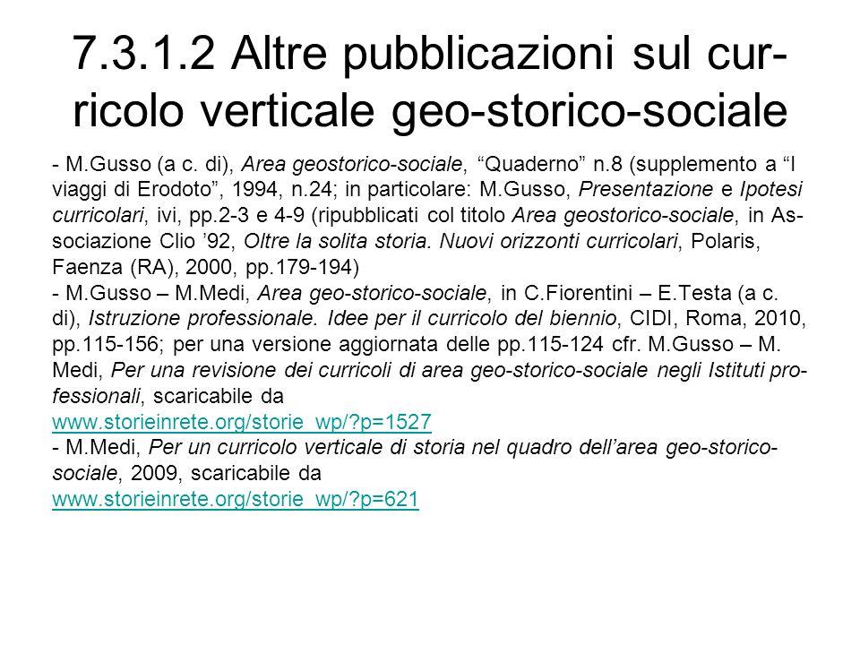 7.3.1.2 Altre pubblicazioni sul cur-ricolo verticale geo-storico-sociale