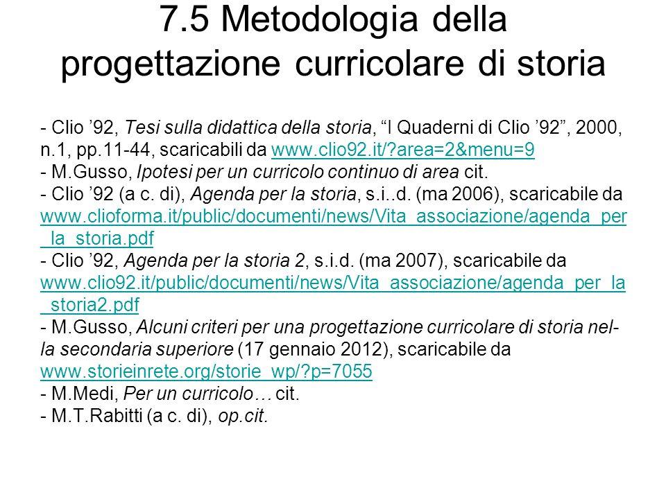7.5 Metodologia della progettazione curricolare di storia