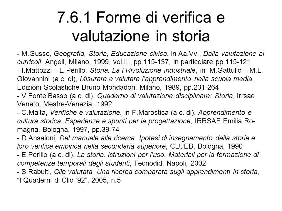 7.6.1 Forme di verifica e valutazione in storia