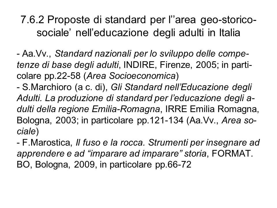 7.6.2 Proposte di standard per l''area geo-storico- sociale' nell'educazione degli adulti in Italia