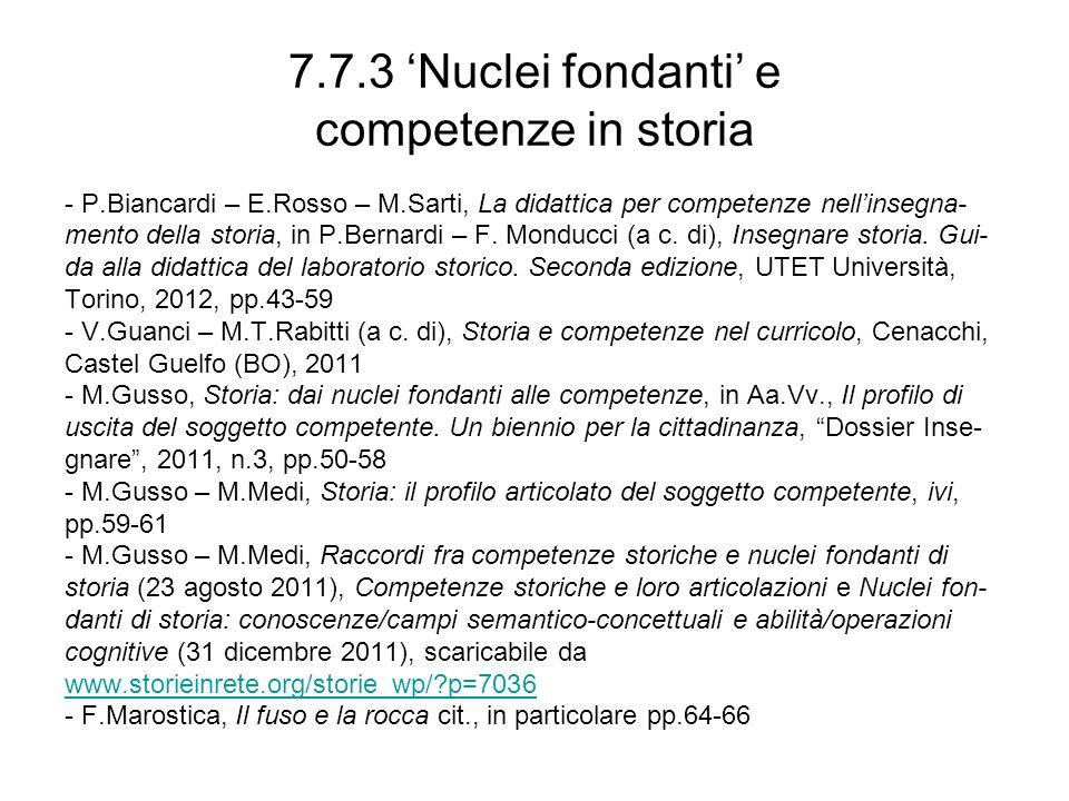 7.7.3 'Nuclei fondanti' e competenze in storia